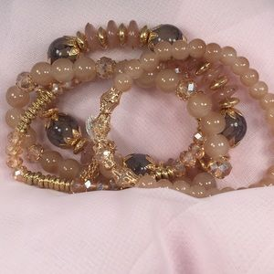 BRACELET with Tan, Gold & Gray Colored Beads